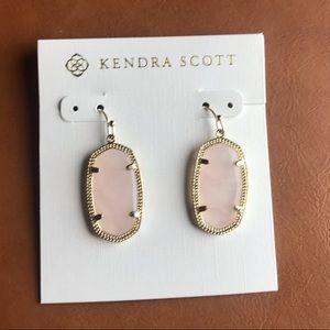 Kendra Scott Dani Rose Quartz Gold Earrings
